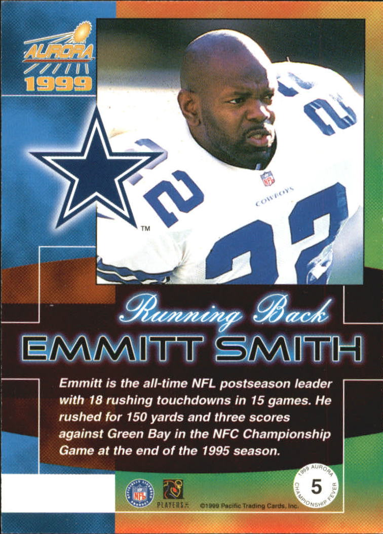 1999 Aurora Championship Fever #5 Emmitt Smith back image