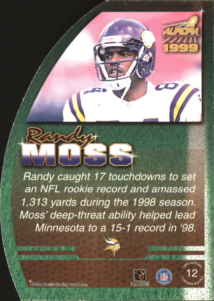 1999 Aurora Leather Bound #12 Randy Moss back image