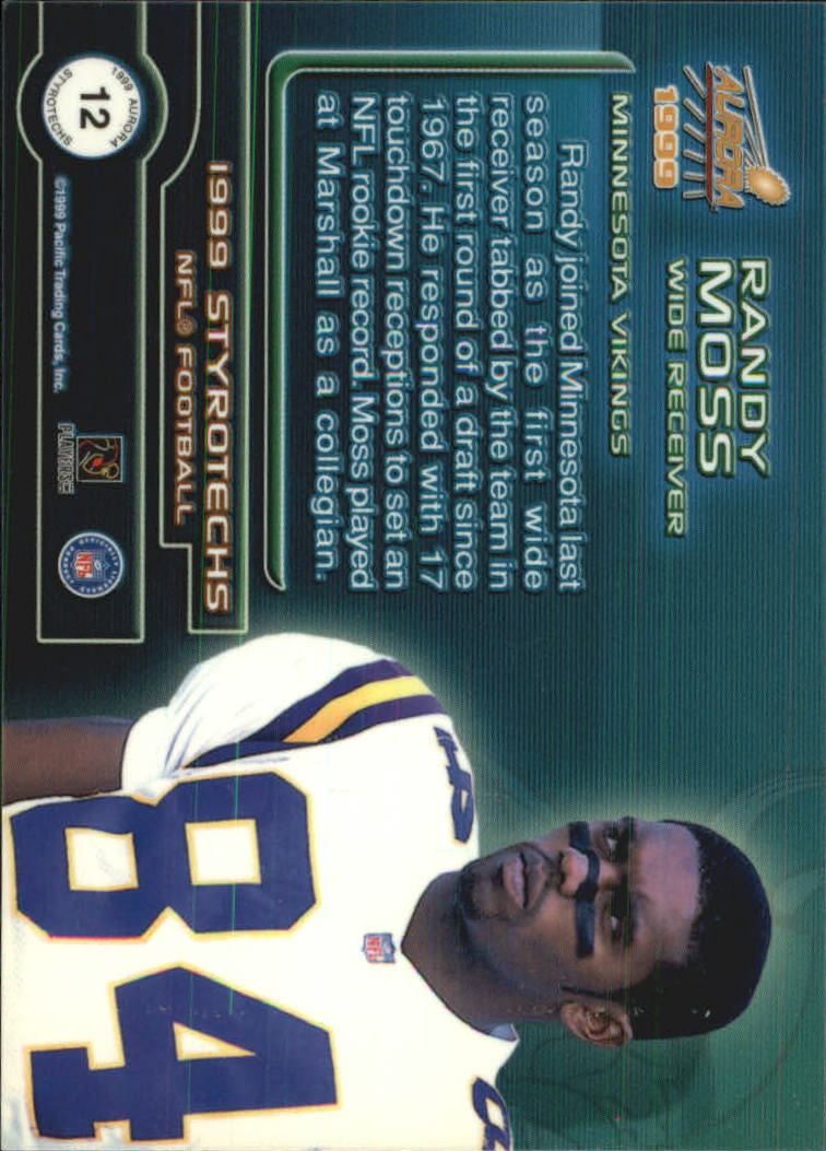 1999 Aurora Styrotechs #12 Randy Moss back image