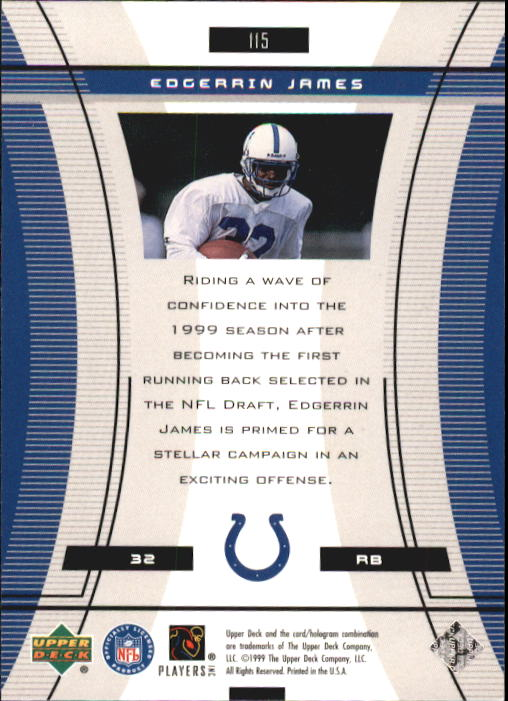1999 Black Diamond #115 Edgerrin James RC back image