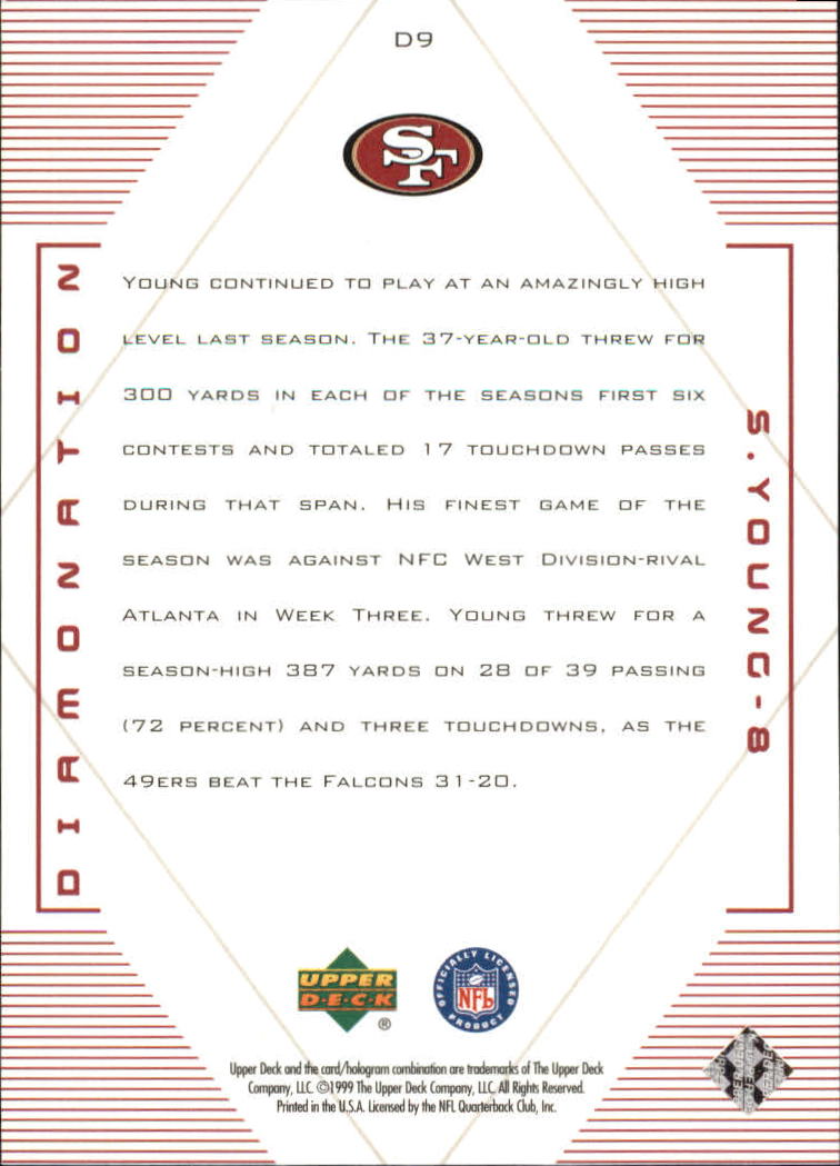 1999 Black Diamond Diamonation #D9 Steve Young back image