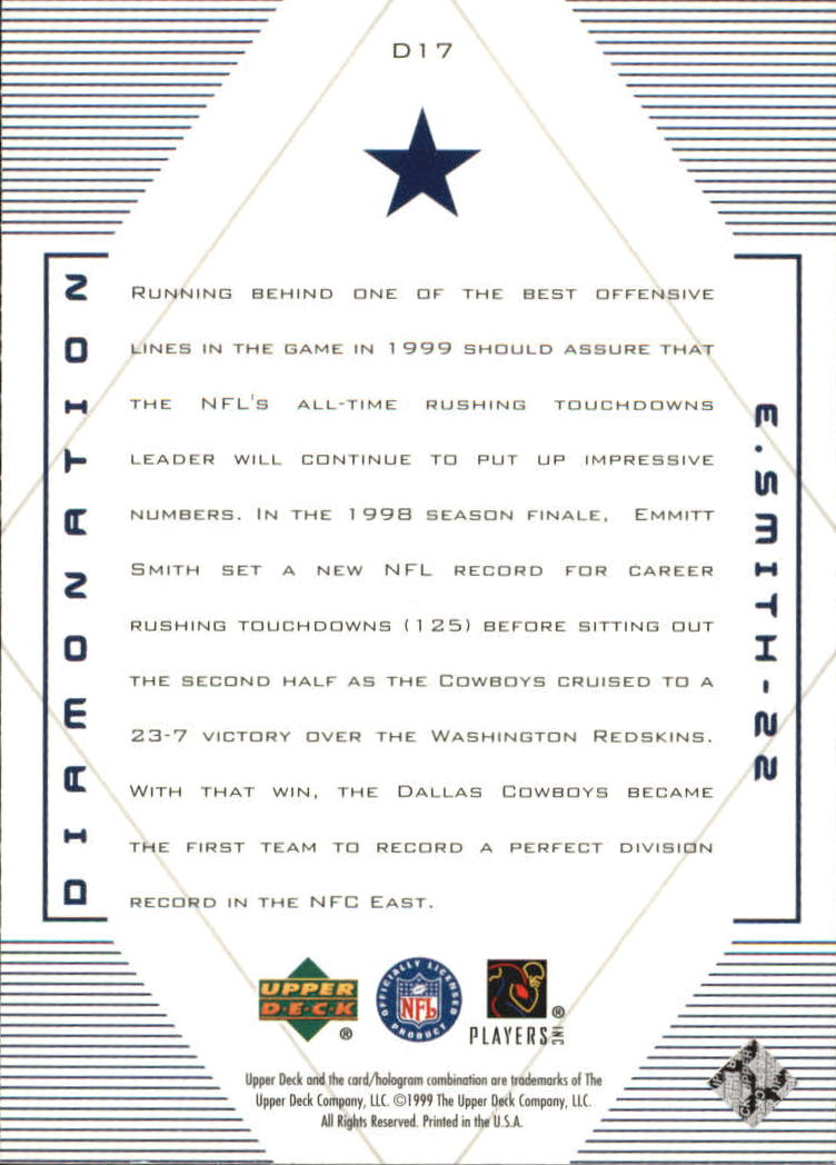 1999 Black Diamond Diamonation #D17 Emmitt Smith back image