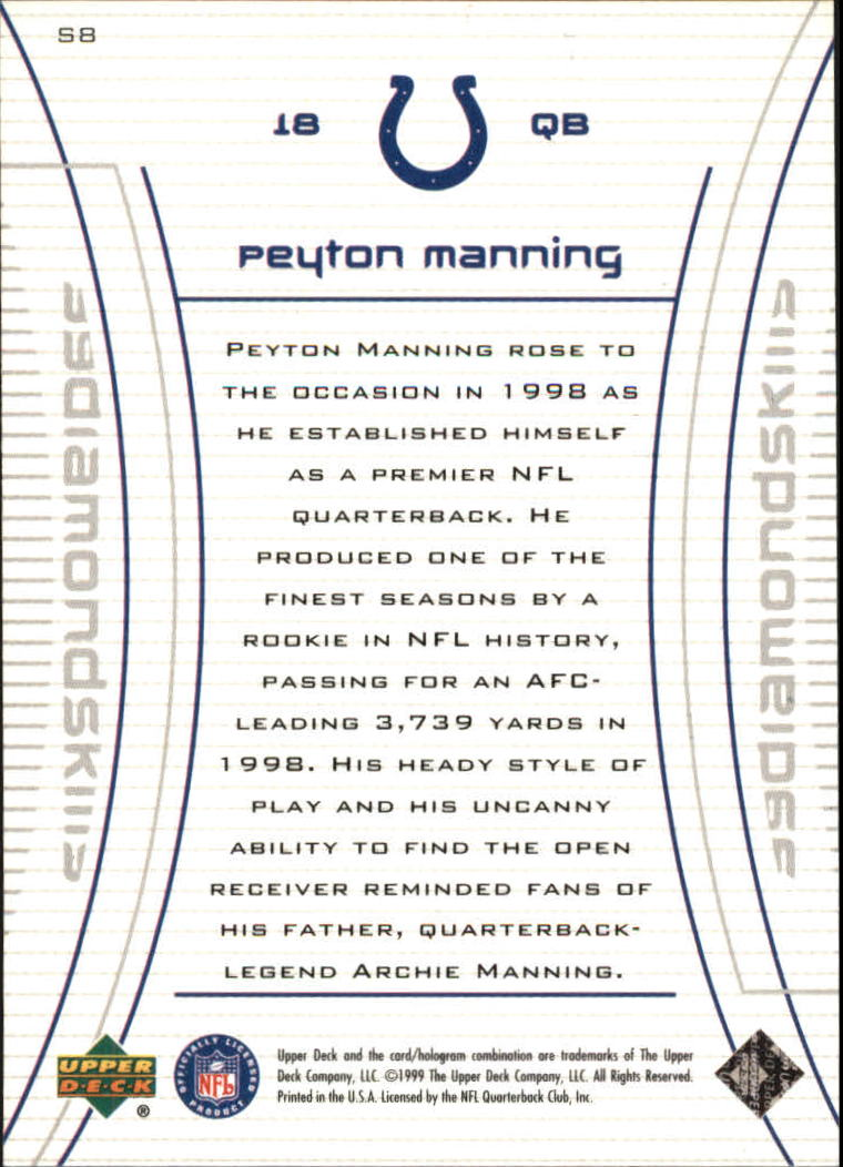 1999 Black Diamond Skills #S8 Peyton Manning back image