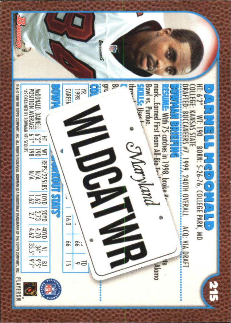 1999 Bowman Interstate #215 Darnell McDonald back image
