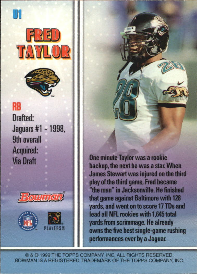 1999 Bowman Late Bloomers/Early Risers #U1 Fred Taylor back image