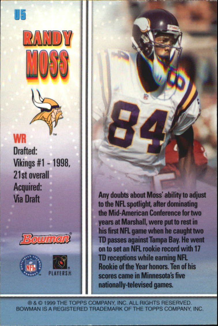 1999 Bowman Late Bloomers/Early Risers #U5 Randy Moss back image
