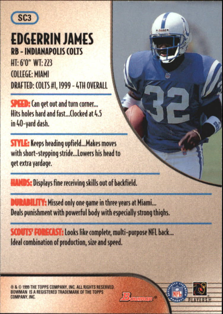 1999 Bowman Scout's Choice #SC3 Edgerrin James back image