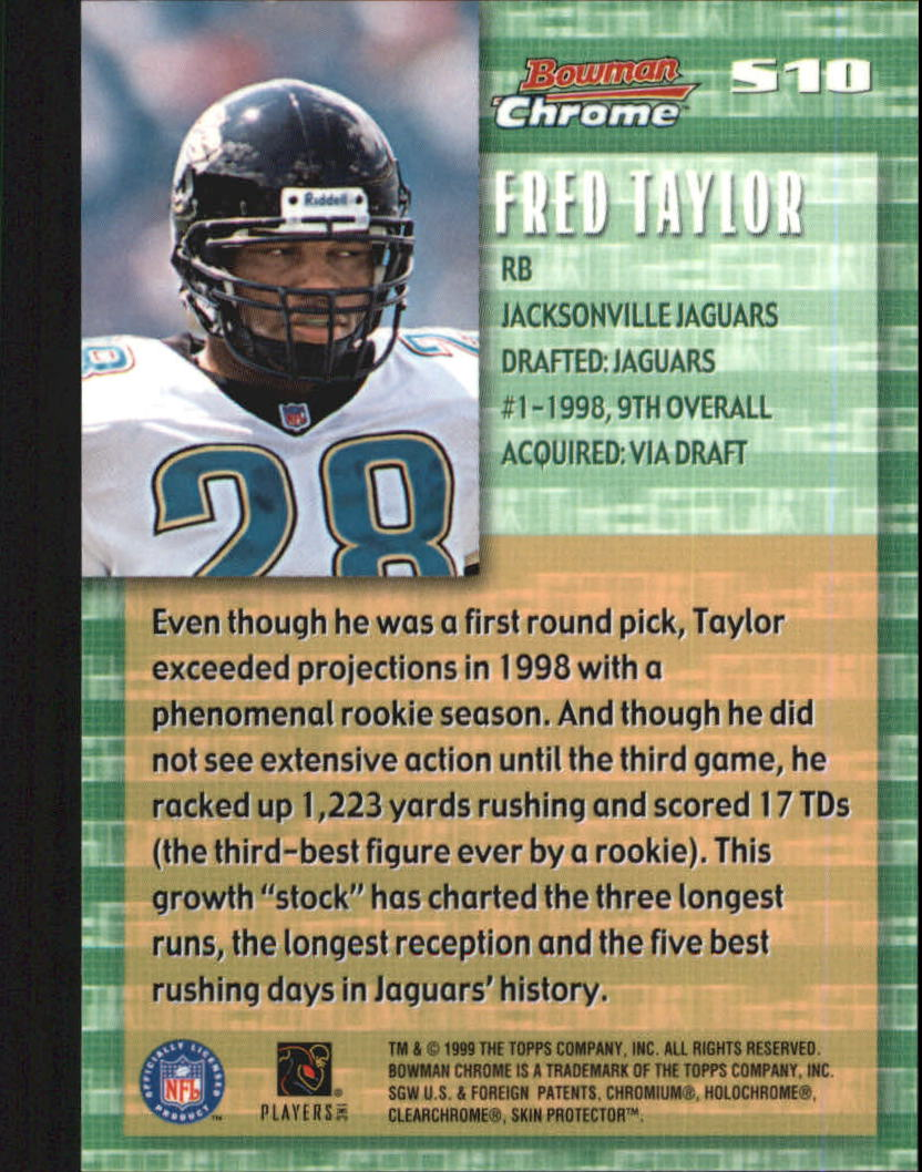 1999 Bowman Chrome Stock in the Game #S10 Fred Taylor back image