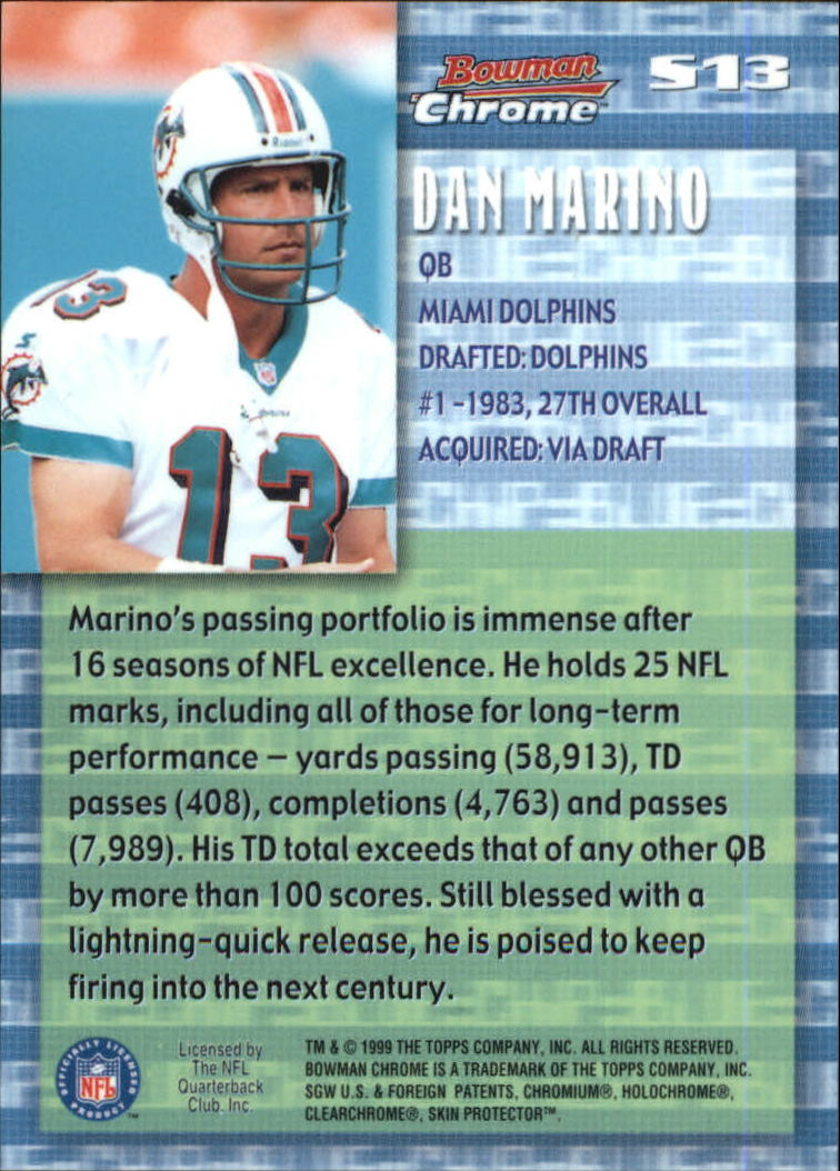 1999 Bowman Chrome Stock in the Game #S13 Dan Marino back image