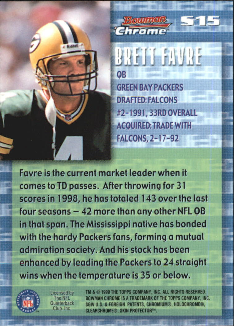 1999 Bowman Chrome Stock in the Game #S15 Brett Favre back image