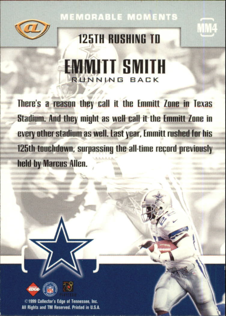 1999 Collector's Edge Advantage Memorable Moments #MM4 Emmitt Smith back image