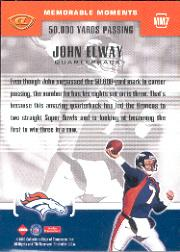 1999 Collector's Edge Advantage Memorable Moments #MM7 John Elway back image