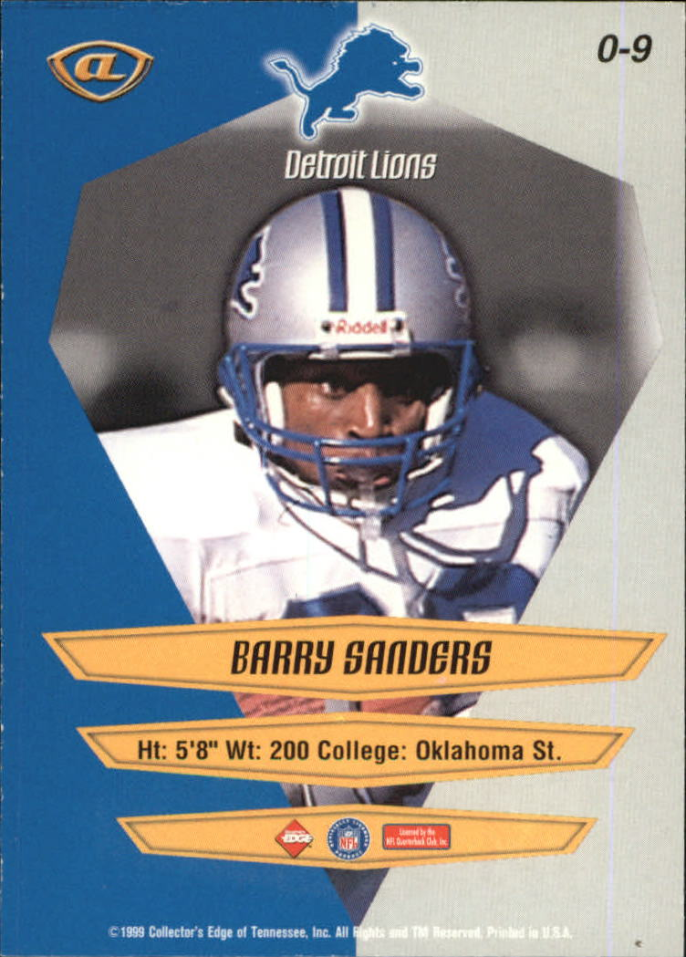 1999 Collector's Edge Advantage Overture #9 Barry Sanders back image