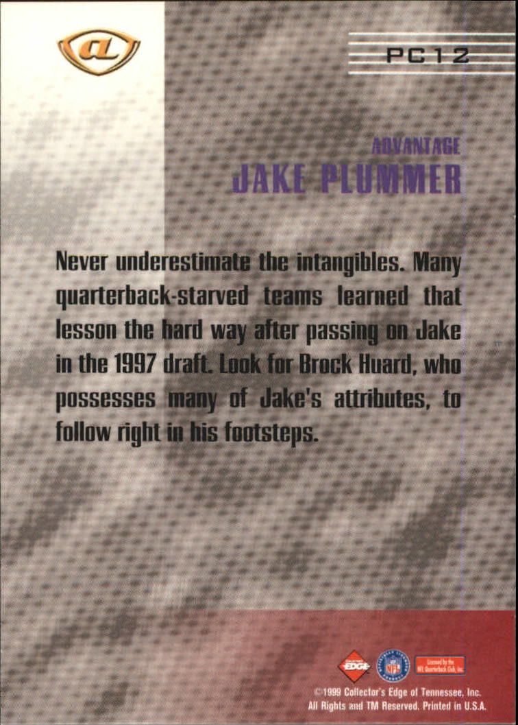 1999 Collector's Edge Advantage Prime Connection #PC12 Jake Plummer back image