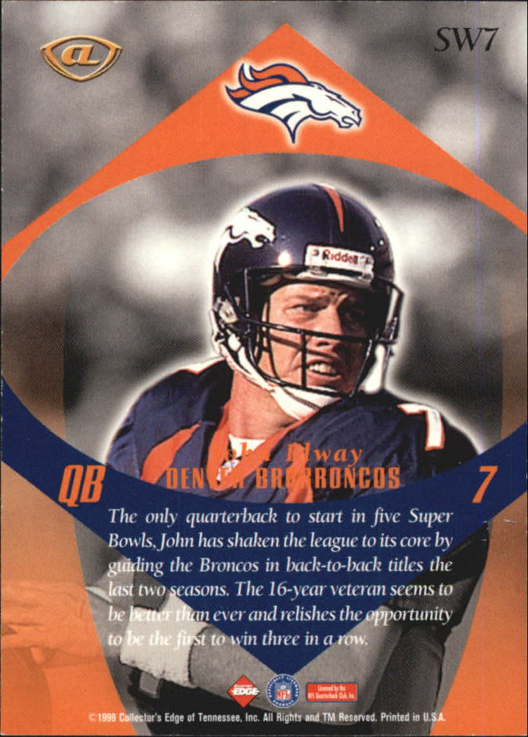 1999 Collector's Edge Advantage Shockwaves #SW7 John Elway back image
