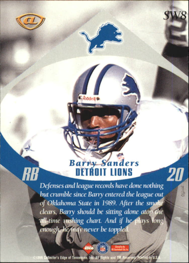 1999 Collector's Edge Advantage Shockwaves #SW8 Barry Sanders back image