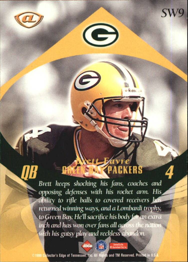 1999 Collector's Edge Advantage Shockwaves #SW9 Brett Favre back image