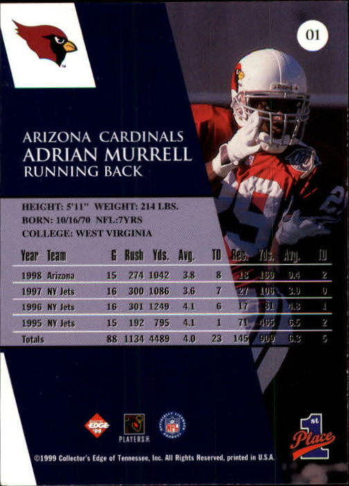 1999 Collector's Edge First Place #1 Adrian Murrell back image