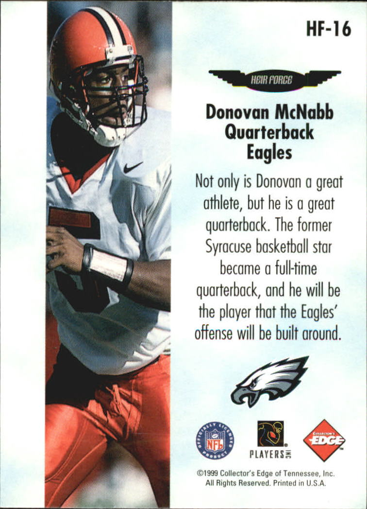 1999 Collector's Edge Fury Heir Force #HF16 Donovan McNabb back image