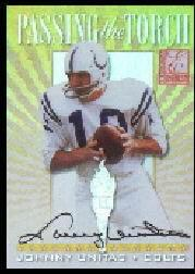 1999 Donruss Elite Passing the Torch Autographs #1 Johnny Unitas/Peyton Manning
