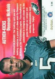 1999 E-X Century Authen-Kicks #5AK Donovan McNabb/210 back image