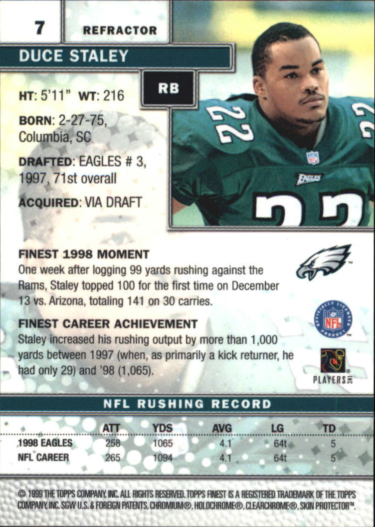 1999 Finest Refractors #7 Duce Staley back image