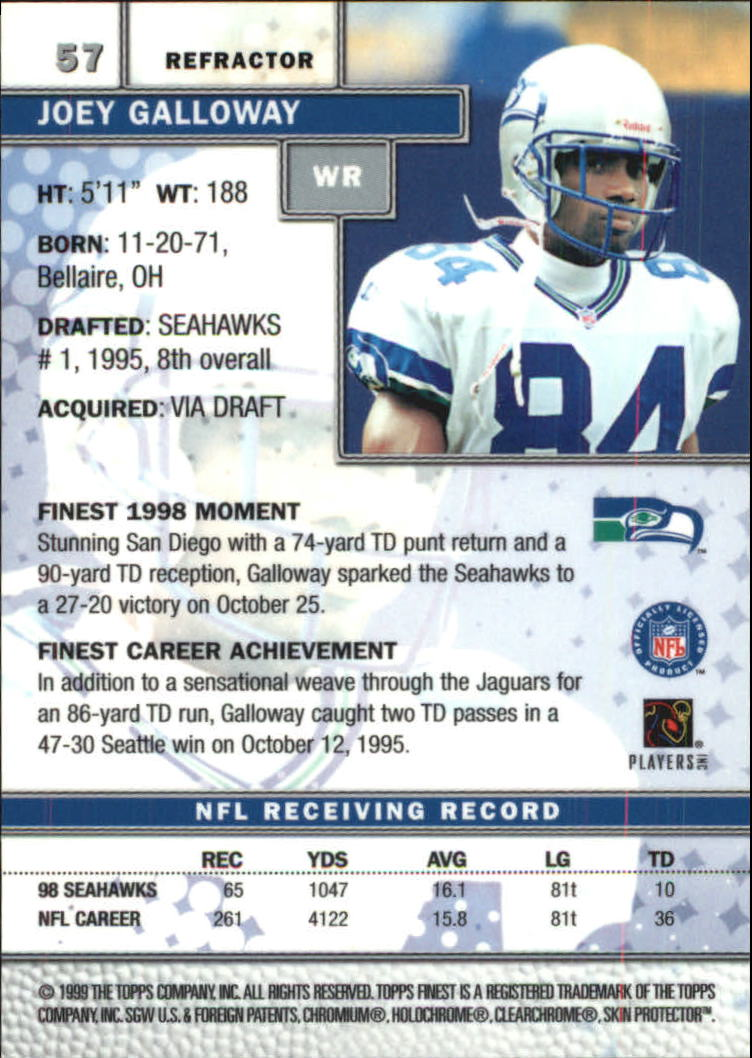 1999 Finest Refractors #57 Joey Galloway back image