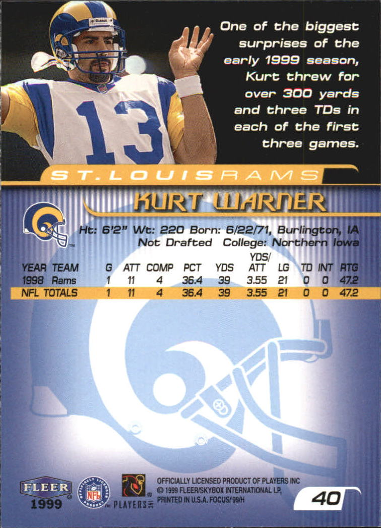 1999 Fleer Focus #40 Kurt Warner RC back image
