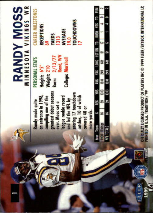 1999 Fleer Tradition #1 Randy Moss back image