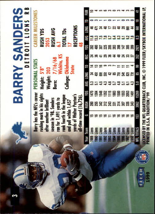 1999 Fleer Tradition #3 Barry Sanders back image