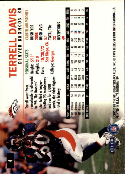 1999 Fleer Tradition #4 Terrell Davis back image