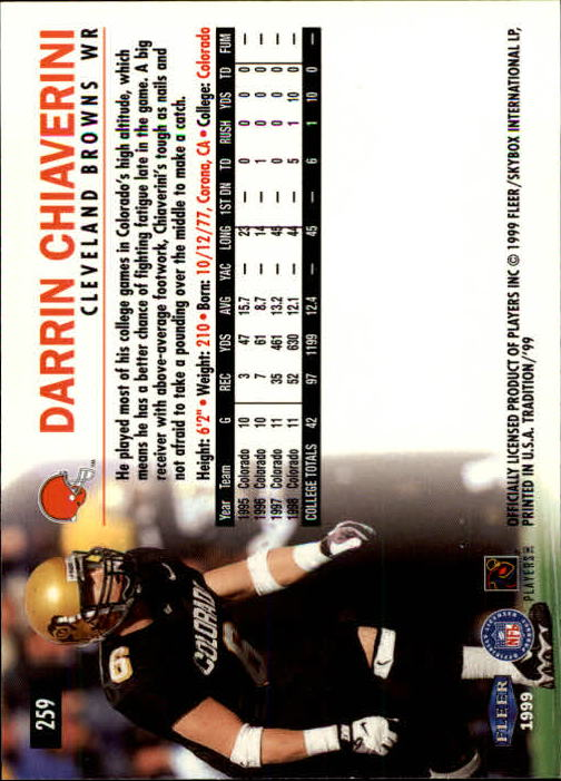 1999 Fleer Tradition #259 Darrin Chiaverini RC back image