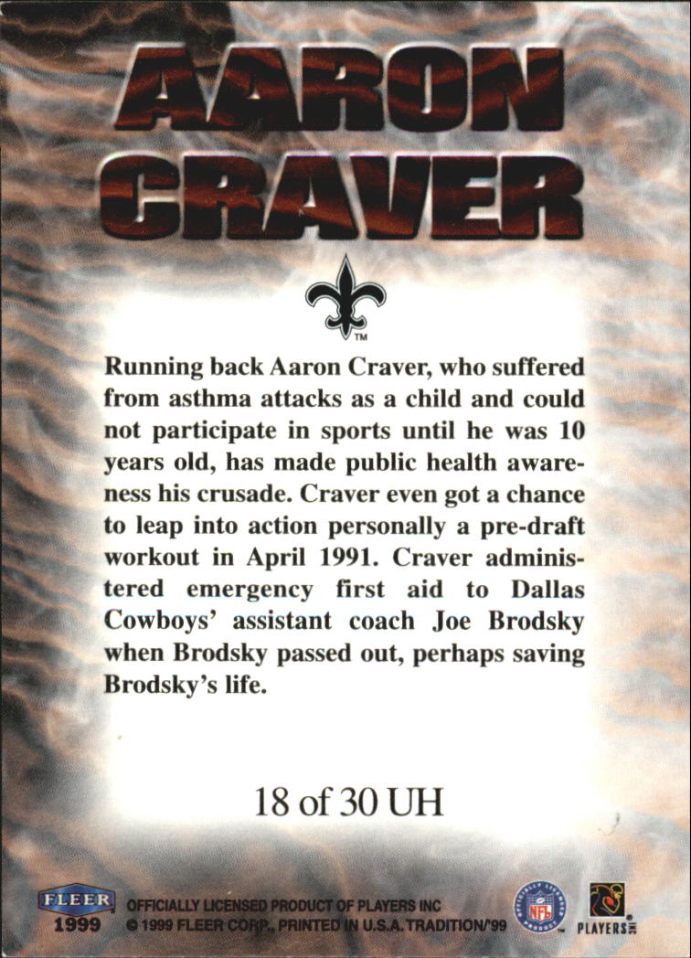 1999 Fleer Tradition Unsung Heroes #18UH Aaron Craver