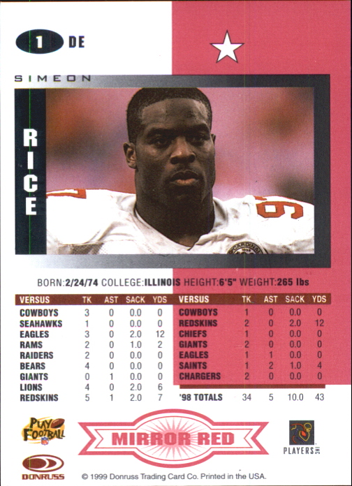 1999 Leaf Certified Mirror Red #1 Simeon Rice back image