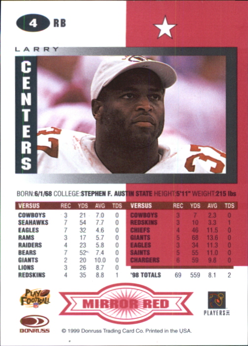 1999 Leaf Certified Mirror Red #4 Larry Centers back image