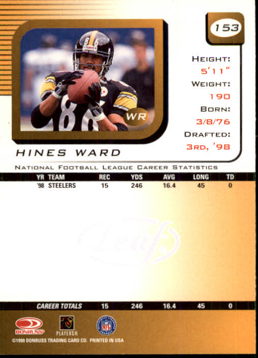 1999 Leaf Rookies and Stars #153 Hines Ward back image
