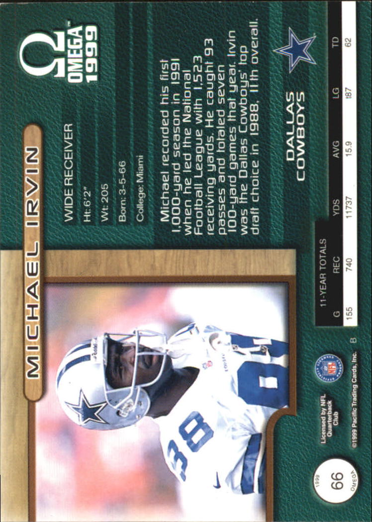 1999 Pacific Omega Premiere Date #66 Michael Irvin back image