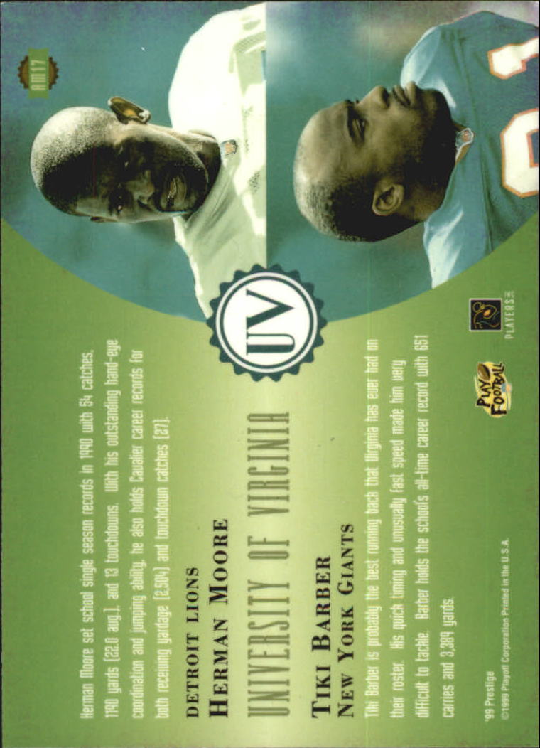 1999 Playoff Prestige EXP Alma Maters #AM17 T.Barber/H.Moore back image