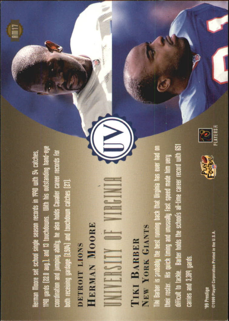 1999 Playoff Prestige SSD Alma Maters #AM17 H.Moore/T.Barber back image