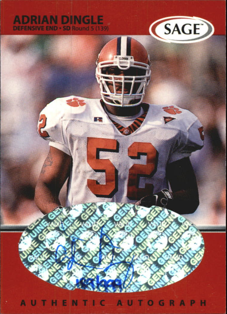 1999 SAGE Autographs Red #A15 Adrian Dingle/999