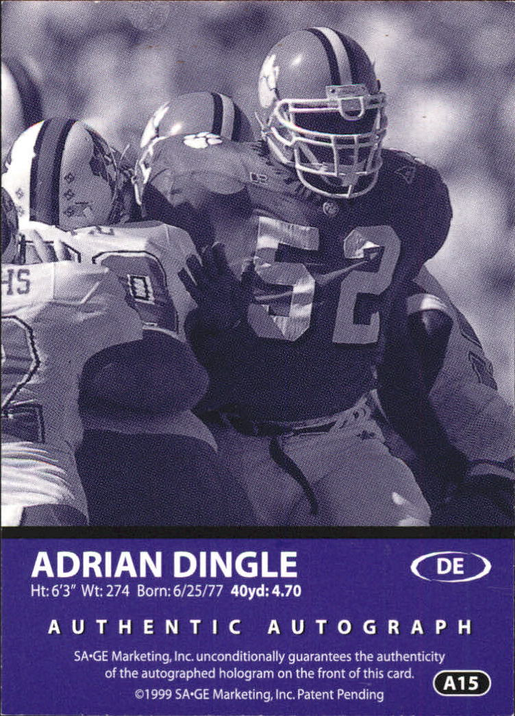 1999 SAGE Autographs Bronze #A15 Adrian Dingle/650 back image