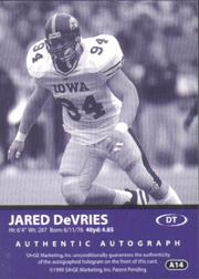 1999 SAGE Autographs Silver #A14 Jared DeVries/355