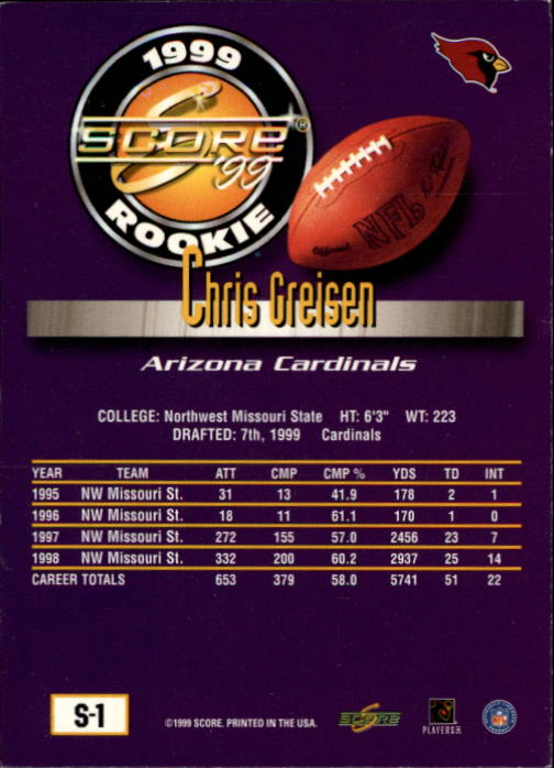 1999 Score Supplemental #S1 Chris Greisen RC