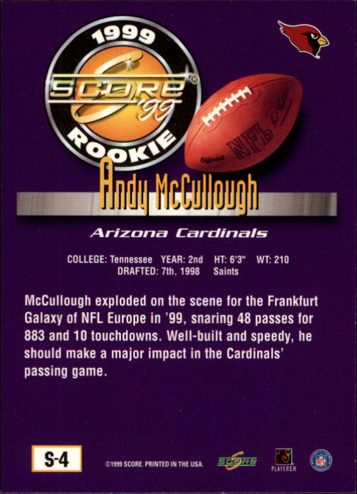 1999 Score Supplemental #S4 Andy McCullough RC