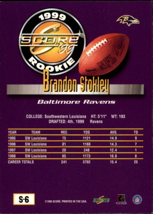 1999 Score Supplemental #S6 Brandon Stokley RC