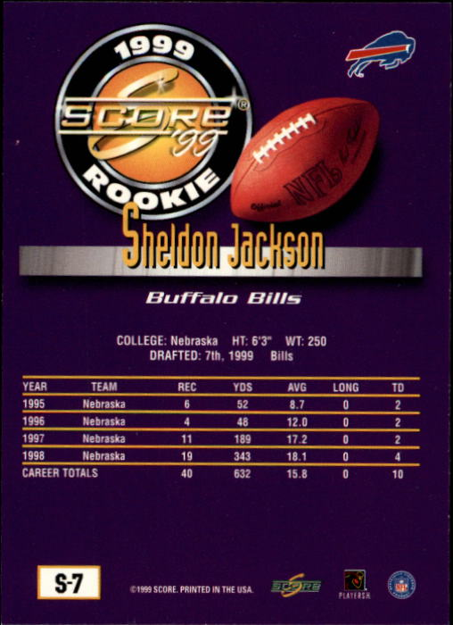 1999 Score Supplemental #S7 Sheldon Jackson RC