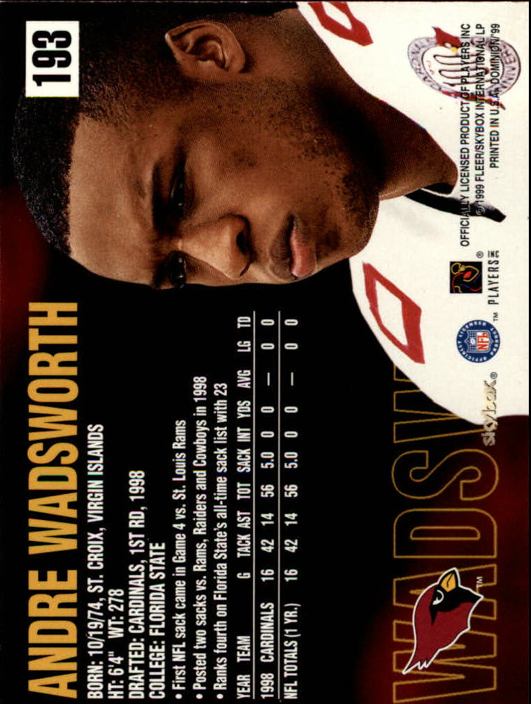 1999 SkyBox Dominion #193 Andre Wadsworth back image