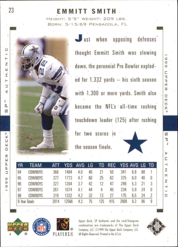 1999 SP Authentic #23 Emmitt Smith back image
