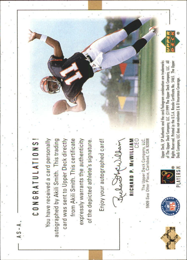 1999 SP Authentic Player's Ink Green #ASA Akili Smith back image