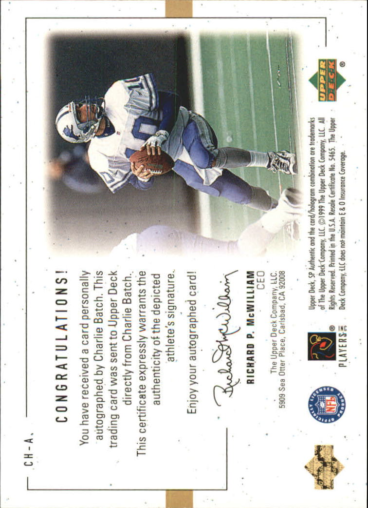 1999 SP Authentic Player's Ink Green #CHA Charlie Batch